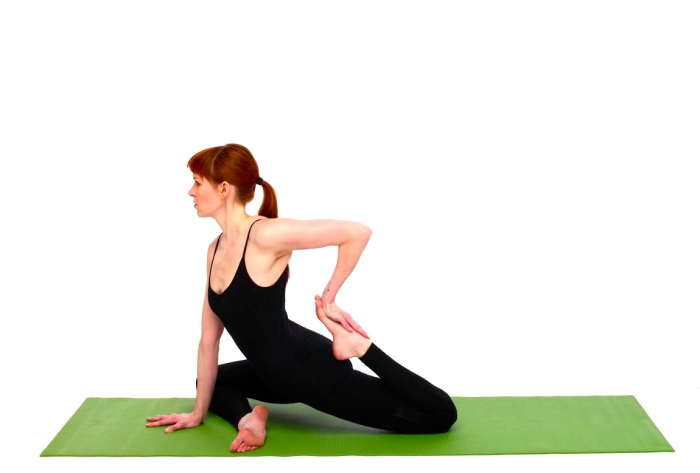 This pose stretches the gluts, hamstrings and increases flexibility in the hip joint.